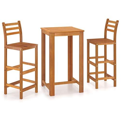 BIGTO Esszimmer-Set aus massivem Akazienholz, Tisch und Stühle