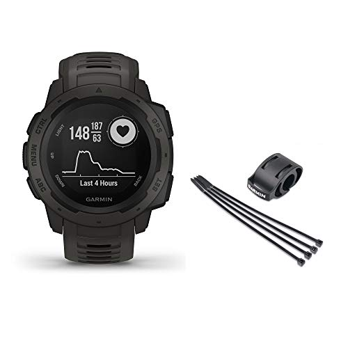 Garmin Instinct with Bike Mount Rugged Outdoor Watch with GPS, Features GLONASS and Galileo, Heart Rate Monitoring and 3-axis Compass, Graphite (Graphite)