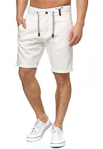 Indicode Herren Bowmanville Shorts aus 55% Leinen & 45% Baumwolle | Kurze Regular Fit Hose Leinen-Shorts Sommerhose Herrenshorts Short Men Pants Freizeithose kurz für Männer Offwhite L