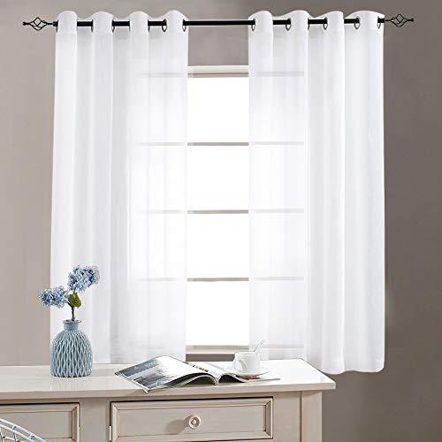 TOPICK Sheer Vorhang mit Ösen Halb Transparent Gardinen 2 Stücke Gaze paarig Fensterschal Vorhänge, Schwimmendes Weiß, 130 cm x 145 cm (H x B)
