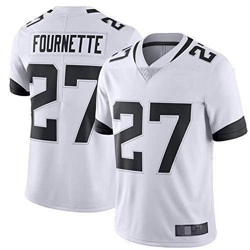 27# Fournette Jaguar Rugby T-Shirt für Männer American Football Trikot, Polo Athlet Training Spiel Performance Club belüftete Bequeme Kurzarm Sweatshirt-White-XXXL