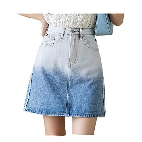 N\P Harajuku cintura alta jeans falda mujer verano gradiente mini