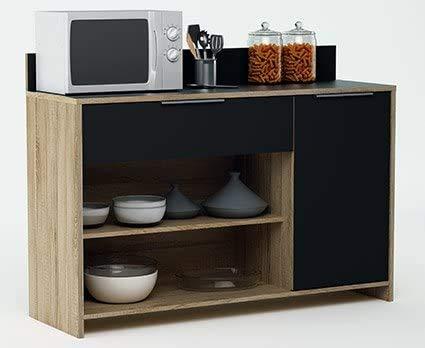 Mikrowellen- oder Besteckkabinett-Stützschrank, Farbe Eiche und Schwarz 123x85cm,Black