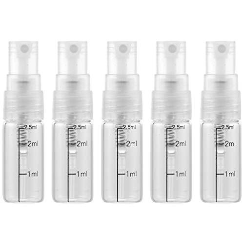 Beaupretty 10 Pcs Échelle Flacon Pulvérisateur en Verre Vide Vaporisateur Récipients Rechargeables pour Parfum Peau Liquide Lotion Cosmétique (2. 5 Ml)