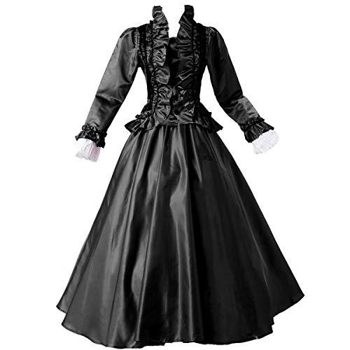 GRACEART Women Medieval Renaissance Lolita Dress Masquerade Ball Gown (Dress & Hoop Skirt) Black 2XL