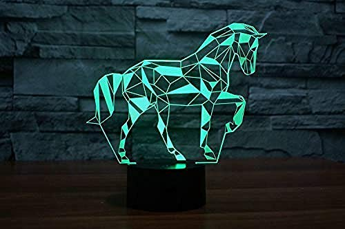 Jigsaw Horse Puzzel Nachtlampje Action Figure 7 kleuren Touch Table Decoration Light optisch illusmodel