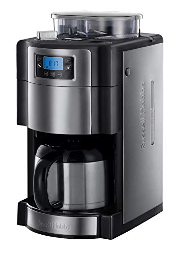 Russell Hobbs Digitale Thermo-Kaffeemaschine Buckingham Grind&Brew, 1.25l, integriertes Mahlwerk, Thermokanne, 1000 Watt, 21430-56, Edelstahl/schwarz