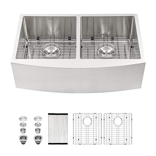 Double Bowl Farmhouse Kitchen Sink- Mocoloo 36