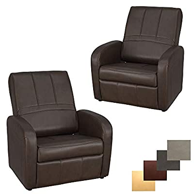 RecPro Charles RV Gaming Chair Ottoman Conversion | Built-in Storage | RV Furniture | Great for Teens | Chestnut | 2 Pack from RecPro