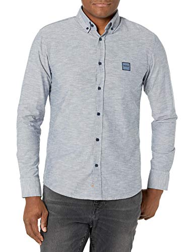 Hugo Boss Camisa con Botones para Hombre, Azul Stone, Medium