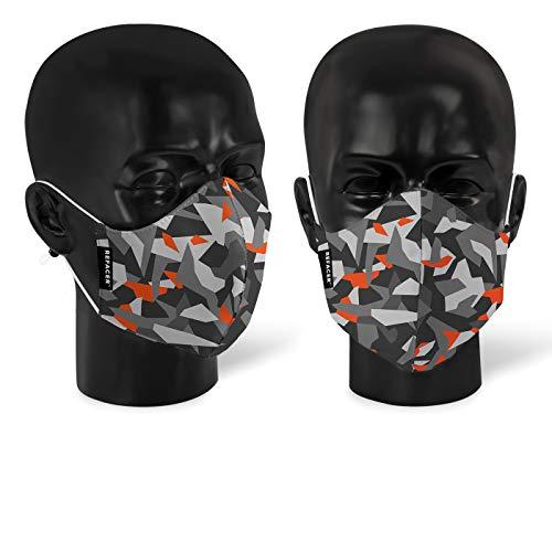 2x REFACER -Modell Air- Gesichtsmaske – superleichter und atmungsaktiver Mundschutz – Wiederverwendbare Stoffmaske (Camouflage, 2 Stück)