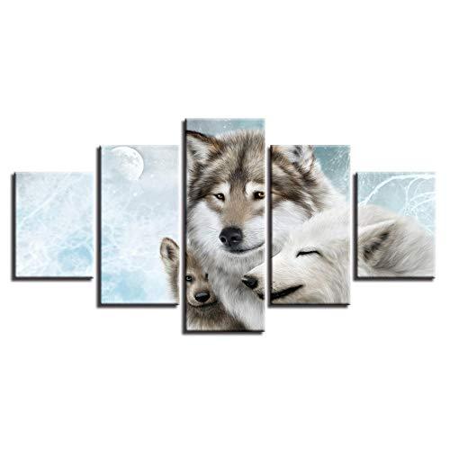 Animales encantadores Decoración familiar 5 piezas Arte de pared Imágenes de lobo Pintura de decoración para el hogar Carteles de lienzo HD para sala de estar | 40x60 40x80x2 40x100cm | Sin marco