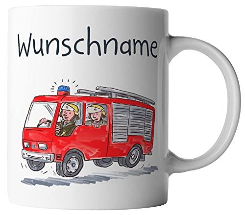 vanVerden Taza infantil – Coche de bomberos para niños – Bomberos – Personalizable – Impresión por ambos lados – Idea de regalo – Tazas de café – Color blanco