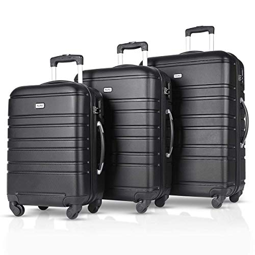 Luggage Set 3 Piece Set Suitcase Lightweight Carry-On Luggage,100% ABS Material Hard Shells(20in24in28in)-(BLACK)