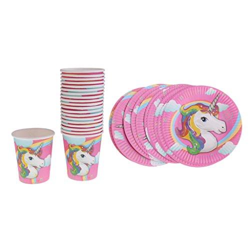 Colcolo 10 Vasos de Papel Y 10 Platos de Papel para Cumpleaños de Niños, Baby Shower,
