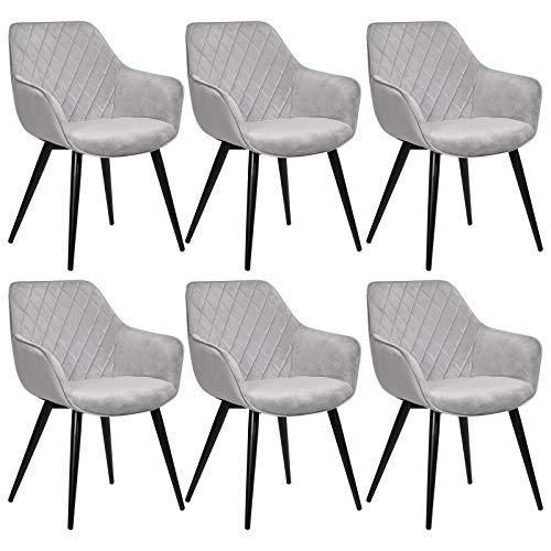 WOLTU Esszimmerstühle BH153gr-6 6er Set Küchenstühle Wohnzimmerstuhl Polsterstuhl Design Stuhl mit Armlehne Grau Gestell aus Stahl Samt