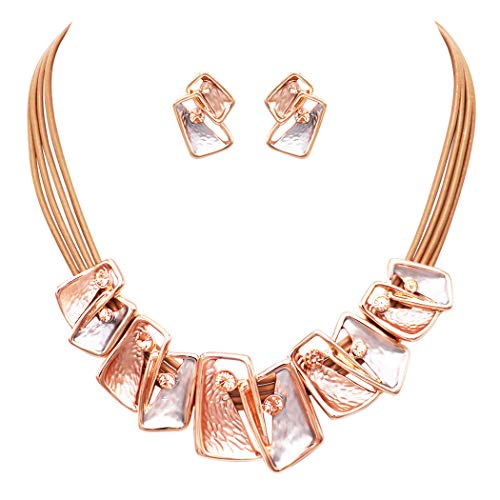 Rosemarie Collections Women's Geometric Fashion Two-Tone Necklace and Earrings Jewelry Set