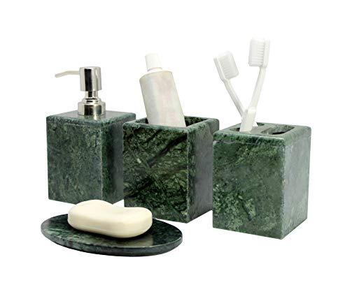 KLEO - Set di Accessori da Bagno in Pietra Naturale Verde - Set di 4 Accessori da Bagno, con Dispenser per Sapone, Porta spazzolino da Denti, Bicchiere e portasapone