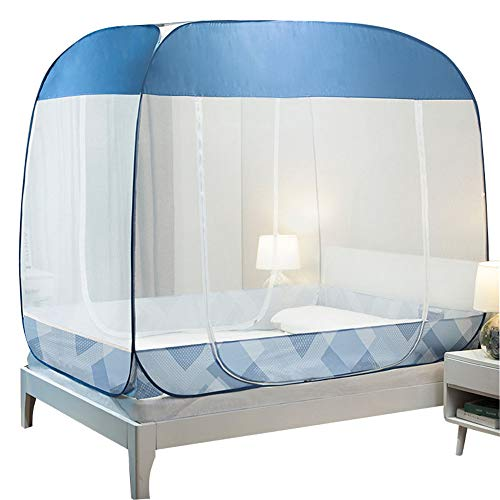 ZJDU Anti Mosquito Nets Pop Up Mosquito Net Bed Tent,Bedroom Mosquito Netting,with Bottom Mosquito Nettings Folding Portable for Baby Toddlers Kids Adult-No Need to Install,Blue,1.8×2.2M