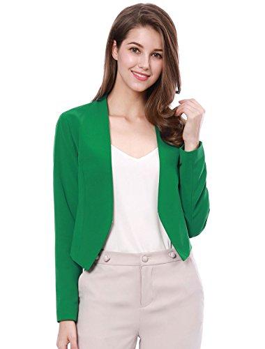 Allegra K Chaqueta Corta De Mujer Sin Collar para Trabajo Oficina Negocio Informal