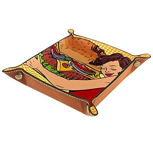 MUMIMI Bandeja de joyería para decoración del hogar, regalo de boda para su pequeño anillo titular hermosa mujer joven abrazando hamburguesa