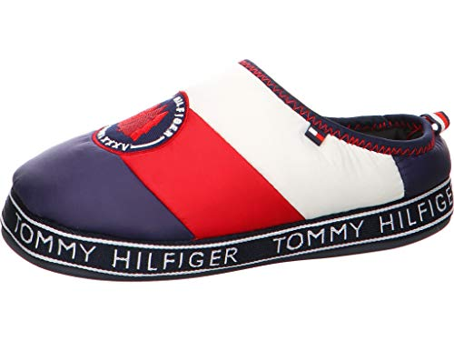 TOMMY HILFIGER Women - Blue signature padded nylon downslipper - Number 35/36
