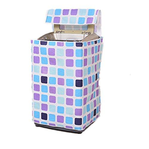 BESTOMZ Funda para Lavadora de Carga Superior Impermeable con Cremallera 87 x 58 x 55 cm (Azul Púrpura Plaid)