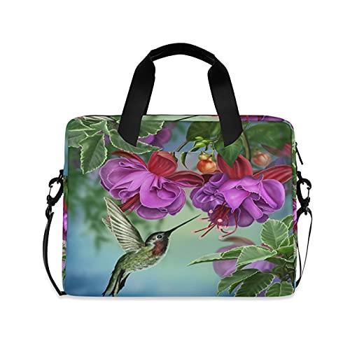 JNlover Hummingbird Tropical Flower Laptop Bag 16 inch, Portable Sleeve Briefcase Laptop Case Notebook Computer Carrying Case Bag for Women Men