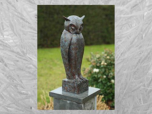 IDYL Escultura de búho de bronce   50 x 13 x 17 cm   Figura de animal de bronce hecha a mano   Escultura de jardín o estanque   Artesanía de alta calidad   Resistente a la intemperie