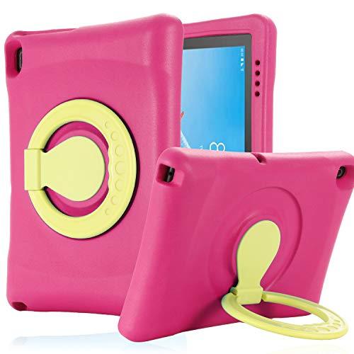 """Kavon - Custodia protettiva portatile per Lenovo Tab E10 TB-X104F 10.1 pollici 2019,manico convertibile a prova di urti custodia per tablet in EVA leggera per bambini da 10,1"""" rosa"""