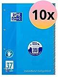Oxford 100050404 - Block notes per mancini A4+, a righe con margine a sinistra e a destra, 80 fogli, carta ottica 90 g/m², confezione da 10 pezzi, colore: Blu