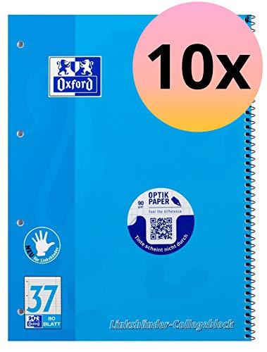 Oxford 100050404 Collegeblock Schule für Linkshänder 10er Pack A4 liniert mit Doppelrand 80 Blatt blau