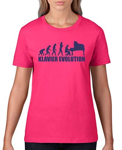 Comedy Shirts - Klavier Evolution - Damen T-Shirt - Sorbet/Lila Gr. XL