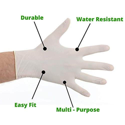 Safe-Touch Powder Free Glove Disposable PVC Gloves Virus Protection Epidemic Protection Gloves in Latex Multi-Purpose,Natural Rubber Gloves 100pcs//Box Medium