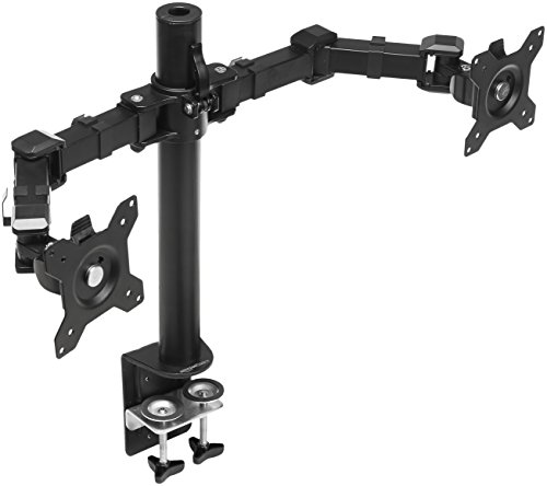 AmazonBasics - Soporte Doble para monitores, brazo ajustable en altura, acero