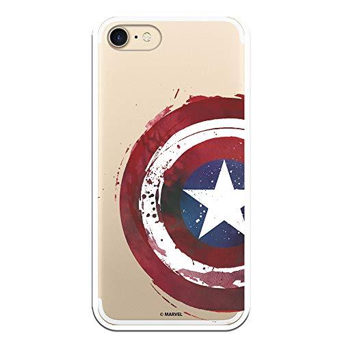 Funda para iPhone 7 - iPhone 8 - iPhone SE 2020 Oficial de Marvel Capitán América Escudo Transparente para Proteger tu móvil. Carcasa para Apple de Silicona Flexible con Licencia Oficial de Marvel.