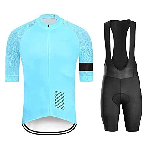 HXTSWGS Conjunto de Trajes de Ciclismo de Manga Corta de Verano para Hombre, Conjunto de Jersey de Ciclismo Transpirable de Secado rápido para Ciclismo Deportivo al Aire libre-A09_XXXL