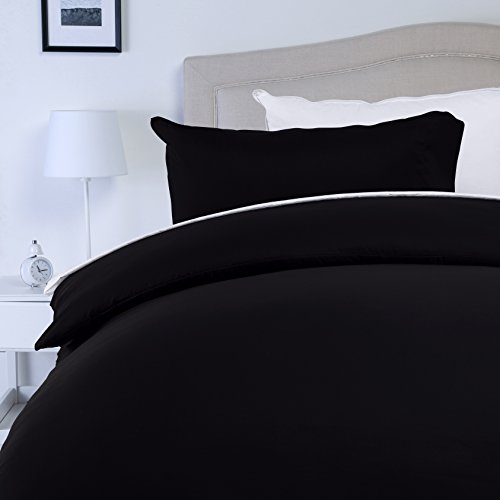 AmazonBasics Microfibre Duvet Cover Set, Double, Black