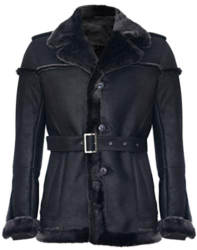 Infinity Leather Chaqueta de Cuero de Gamuza con Punta de Nieve Merino Negro para Hombre con Cinturón de Corbata