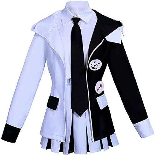 YBINGA Traje de cosplay para mujer Danganronpa, traje de anime, uniforme de secundaria, oso blanco y negro, conjunto completo de accesorios para cosplay (color negro + blanco, tamaño: M)