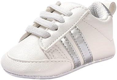 Fossen Zapatos de bebé calzado deportivo de cuero antideslizante inferior suave para niños pequeños infantiles Primeros pasos (6-12 meses, Plateado)