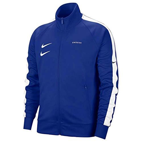 Nike Sportswear Swoosh Felpa Zip Intera, Uomo, Deep Royal Blue/White/Black/White, M