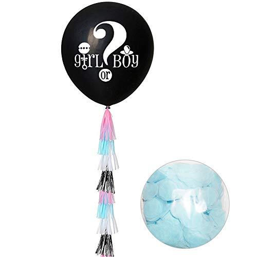 Ganquer Kit de revelación de género Lindo Baby Shower niño o niña Globo Confeti Set Decoraciones, Azul, Tamaño Libre