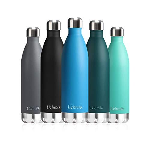 Uchrolls Botella de Agua aislada al vacío de Acero Inoxidable, 750ml, diseño de Pared Doble para Mantener Sus Bebidas Caliente y Fría, BPA Gratis, Ideal Botella de Agua Deportiva (Lago Azul)