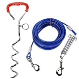 Homtone Dog Stake Tie Out Cable 30 Feet, Reflective Dog Stake 16.5ft with Durable Spring for Dogs Up to 110 lbs, Training Tether Reflective Training for Outdoor, Yard and Camping