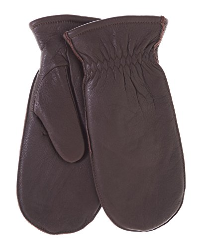 Pratt and Hart Women's Winter Deerskin Leather Mittens with Finger Liners Size M Color Brown