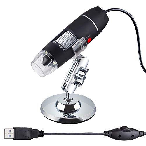 AmScope 50X to 500X USB Digital Handheld Microscope with Adjustable Stand and 8-LED Light - Compatible with Windows, Mac and Android (OTG Adapter Included)