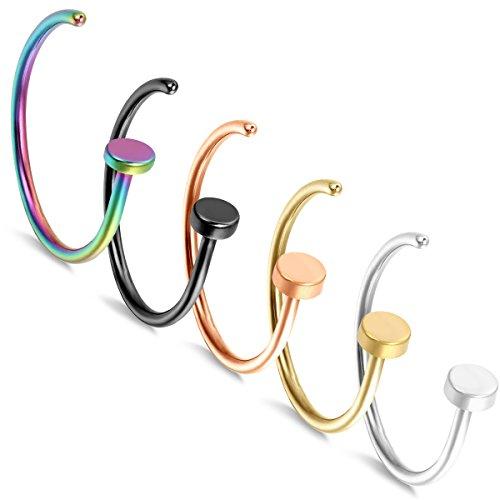 Aroncent 5PCS neuspiercing neusring Fake Hoop Ring, Rose Goud Goud Zilver Zwart gekleurd
