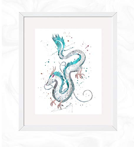 Amazon Com Haku Dragon Form Prints Spirited Away Watercolor Nursery Wall Poster Holiday Gift Kids And Children Artworks Digital Illustration Art Handmade