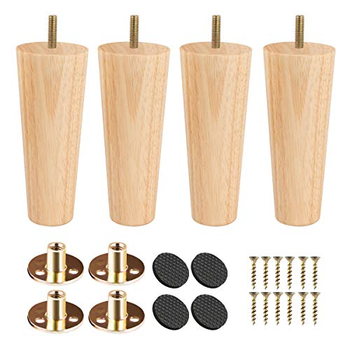 6 inch Solid Wood Furniture Legs, Btowin 4Pcs Mid-Century Modern Wooden Replacement Feet with Threaded 5/16'' Hanger Bolts & Mounting Plate & Screws for Sofa Couch Armchair Cabinet TV Stand